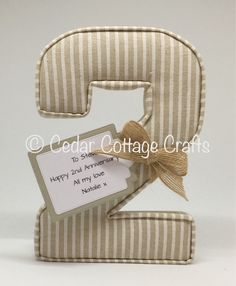 Fabric letter / number 2 in Linen thin stripe with personalised gift tag
