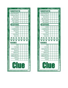 Clue Game Card Templates New Clue Game Sheets Printable Printable Board Games, Printable Cards, Printables, Clue Themed Parties, Mystery Parties, Clue Board Game, Clue Party, Clue Games, Game Bit