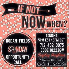 This is a 15 minute ANONYMOUS call discussing the amazing opportunity that the Rodan and Fields business can offer you! For more information on this amazing business opportunity go to Somerriney.myrandf.biz Or message me for more info!