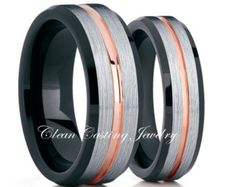 Rose Gold Tungsten Wedding BandHis & Hers by CleanCastingJewelry