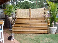 above ground pool with gate | TIKI RETREAT, TIKI BAR ABOVE GROUND POOL GRILLING AREA, New gate ...