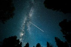 Jet passing through the night sky.