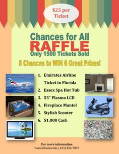 Raffle Flyer Template With Several Prizes Ticket Resume Free Pinterest