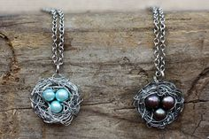 Mother's Nest Necklace with Three Eggs // Triplets by BevinBold, $21.00