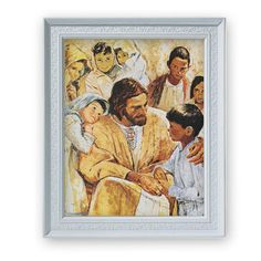 God Is Love Jesus with Little Children By Hook Print in Frame – Beattitudes Religious Gifts