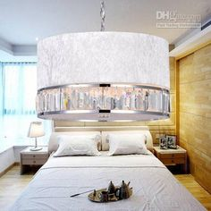 Wholesale Modern/Comtemporary, Drum Ceiling, Luxuriant Crystal Pendant Light in Silvery Pleuche Shade, $278.41-295.73/Piece   DHgate