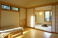 Gorgeous! Tatami meditation/ yoga room off the bedroom. (Kind of want a nicer bed though. ;) )