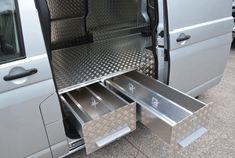 VW Transporter side door slide out drawers.
