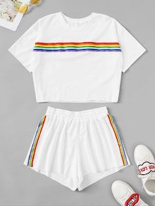 Store Rainbow Tape Panel High With Shorts on-line. - Store Rainbow Tape Panel High With Shorts on-line. Cute Lazy Outfits, Kids Outfits Girls, Teenage Outfits, Trendy Outfits, Cute Pajama Sets, Cute Pajamas, Pajama Outfits, Crop Top Outfits, Girls Fashion Clothes