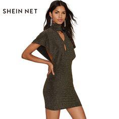 Richkoko Summer Solid Color Women Dress High Collar Front Hollow Out Short  Sleeve Vintage Vestidos Back Zipper Brief Mini Dress ac27bacbc