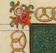 """San Bartolomeo con cornice di pretzel e cracker"""",miniatura tratta dal 'Libro d'Ore di Cathèrine de Clèves'(1440 circa),Morgan Library & Museum, New York.Il rapporto tra questi prodotti da forno e l'apostolo Bartolomeo è sconosciuto."""
