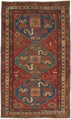 CLOUDBAND KAZAK, Southern Central Caucasian, 4ft 7in x 7ft 9in, 3rd Quarter, 19th Century. The finest 19th century Caucasian Cloudband Kazak rugs (a colloquial moniker for the Chondzoresk Karabagh antique carpet style) have become incredibly rare on the international market. The Armenian weaver of this masterwork included a fractional medallion at top, which gives the impression that this iconic field design extends endlessly into infinite space.