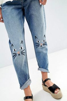 Le Fashion Blog Summer Style Top Knot White Blouse Slouchy Embroidered Denim With Cat Faces On Knees Black Leather Espadrille Wedges Via ASOS