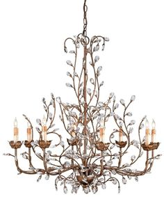 View the Currey and Company 9884 Crystal Bud Chandelier, Large  with Customizable Shades at LightingDirect.com.