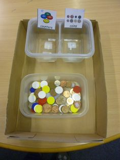 #TEACCH #Autism #Worktasks #Workbasket #WorkBox #Vocational #Functional #Money #LifeSkills   Sorting coins from counters