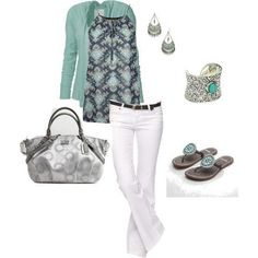 Mint cardigan and white pants