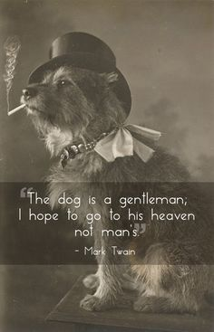 """The dog is a gentleman; I hope to go to his heaven not man's."" -- God, I love Mark Twain."