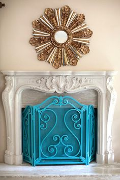 turquoise fireplace screen
