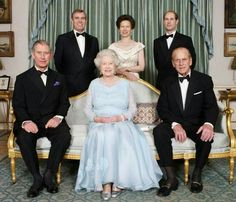 Queen Elizabeth and Prince Phillip with their children.