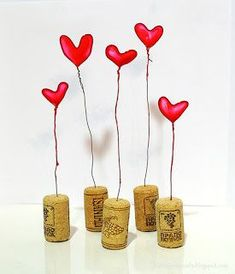 DIY Nail Polish Hearts Tutorial from Journey into Creativity. This little Valentine's display is made of wire, nail polish and corks. You can also make delicate nail polish wire jewelry, like this DIY necklace from My White Idea here. Glue Gun Crafts, Cork Crafts, Easy Diy Crafts, Crafts For Kids, Arts And Crafts, Nail Polish Jewelry, Nail Polish Flowers, Nail Polish Crafts, Little Valentine
