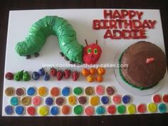 Cake idea for a Very Hungry Caterpillar theme. Looks like caterpillar can be made from bunt cake cut in 3 pieces