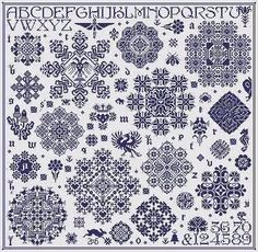 Paradigm Lost sampler cross stitch pattern by Long Dog Samplers at thecottageneedle.com monochromatic Celtic Scandinavian by thecottageneedle