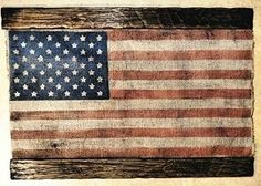 Preview American Flag | Weathered Burlap and Wood | One of a kind vintage home decor | Distressed sign | USA wall art by Clockertails