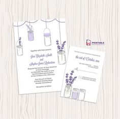 Another spin on the mason jar invites; if your flower of choice is a lavender, these lavender and mason jar wedding invitations are the perfect choice. Source: Printable Invitation Kits
