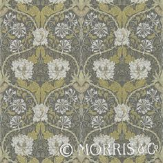 Morris & Co Wallpaper Honeysuckle & Tulip Charcoal/Gold