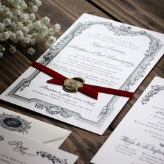 It's all in the details. The design for this invitation was inspired by the bride's #heirloom wax stamp that belonged to her grandmother. I love this invitation for its simple, elegant beauty. The deep red velvet ribbon pops against the clean black and ivory shimmer. Everything about this suite says classy #winterwedding ❄️❤️ . . . . . #lovenotespaperie #custominvitations #weddinginvitations #weddinginspo #handmade #redvelvet #waxseal #bespoke #wedding #weddingplanning #weddingideas #wedd...