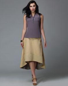 Linen Cotton Assymetrical Flare Skirt