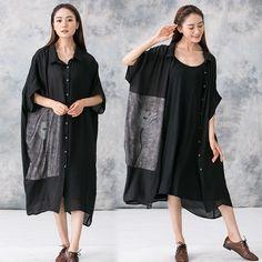 Women Summer long loose linen coat