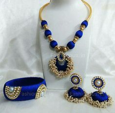 Navy Blue Pearls Silk Thread Jewellery Set – TRADENIMBO