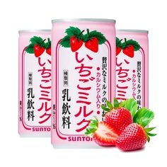SUNTORY Strawberry Milk Nectar Cans Made in Japan1