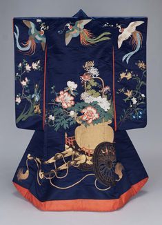 Kimono (uchikake) | Museum of Fine Arts, Boston Outer robe (uchikake) with long sleeves and padded hem with design of flying phoenix and a flower cart carrying a basketful of peonies and chrysanthemum embroidered in silk and gilt paper strips. 19th  century