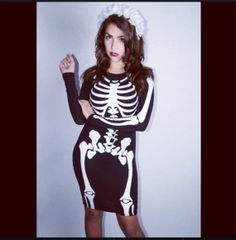 Skeleton Knee Body Con Dress Topshop Goth by HollywoodVillains, $65.00
