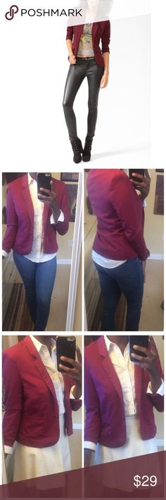 Maroon Burgundy Blazer Sports jacket style blazer from Divided by H&M. Wine Burgundy color. One button closure. Also comes with spare button. Has two front side pockets. Worn twice, no damage holes or stains. Size 10- fits smaller in my opinion. Best fits sizes 6-8. I have also included a size chart. Im wearing this with my fashion nova jeans and ralph lauren striped blouse. If you love these brands: 🌸 american apparel 🌸 wildfox 🌸 urban outfitters 🌸 free people 🌸 J. Crew 🌸 brandy…