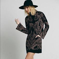 Free People Modern Love long sleeve dress Black with details that are faint but it makes this dress so great Free People Dresses Mini