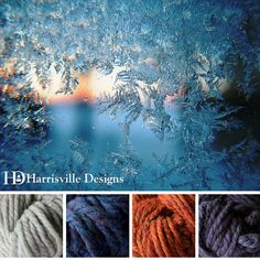 'Frosty View' color palette features our TURBINE yarn in Birch Bark, Aquifer, Monarch and Nelson.