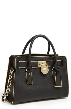 MICHAEL Michael Kors 'Hamilton' Leather Satchel @}-,-;—