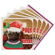 Pugs and kisses charity Christmas cards - pack of 8