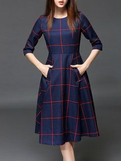 Blue Polyester Pockets Vintage Midi Dress