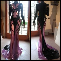 """Super amazing latex gown by VinNoir Latex on Facebook. Need this in my LIFE! Just love that high collared neck and those beautiful draping designs make it feel like liquid. """"My latest creation is finally finished ! Cenobite ladies, this is for you !"""""""