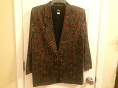 Blazer Jacket Green Red Brown Paisley Size 12 Medium by Tofy #Tofy #Blazer