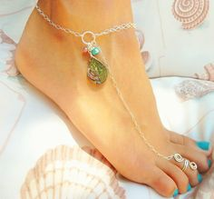 Anklet, Sterling Silver Abalone with Teal and Pink Pearls, Barefoot Jewelry - Available in 14k Gold Filled too. $38.00, via Etsy.