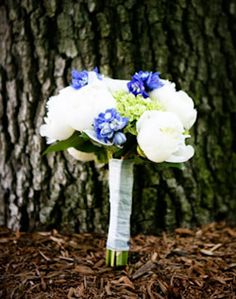 White and Blue traditional Bridal Bouquet