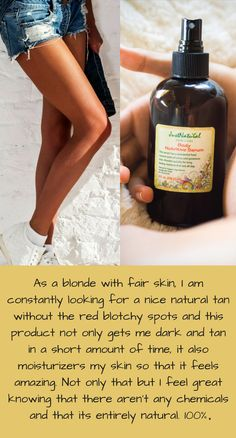 This product works. There is no question about that. As a blonde with fair skin, I am constantly looking for a nice natural tan without the red blotchy spots and this product not only gets me dark and tan in a short amount of time, it also moisturizers my skin so that it feels amazing. Not only that but I feel great knowing that there aren't any chemicals and that its entirely natural. 100% approved.
