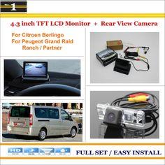 "For Citroen Berlingo For Peugeot Grand Raid / Ranch / Partner Car Reverse Rear Camera + 4.3"" LCD Monitor = 2 in 1 Parking System"