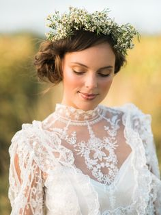 Boho Bride | Vintage Lace Wedding Dress | Flower Crown | Autumn Wedding Styling Inspiration | Styling By Blue Wren Events | Images From John Barwood Photography | http://www.rockmywedding.co.uk/outdoor-autumnal-romance/