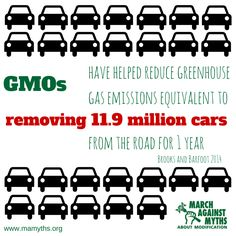 GMOs have helped reduce greenhouse gas emissions equivalent to removing 11.9 million cars from the road for one year.